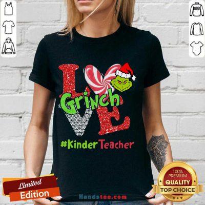Love Grinch #Kinderteacher Christmas V-neck- Design By Handstee.com