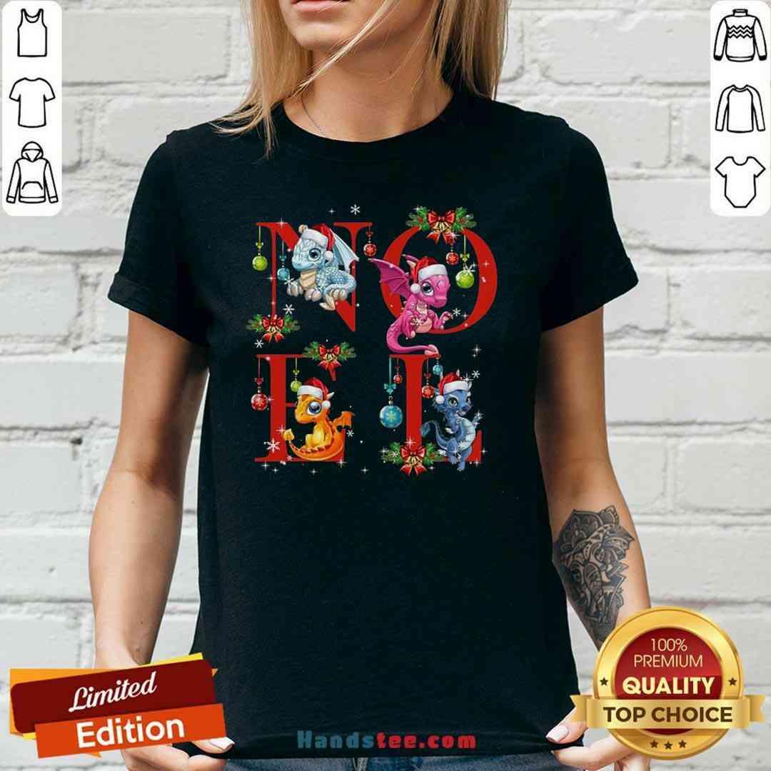 Nice Noel Funny Dragon And Christmas V-neck- Design By Handstee.com