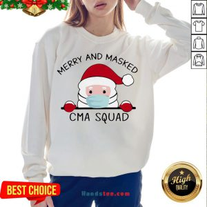 Nice Santa Claus Face Mask Merry And Masked CMA Squad Christmas Sweat Sweatshirt- Design By Handstee.com