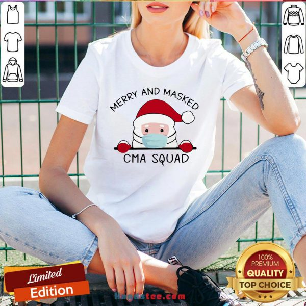 Nice Santa Claus Face Mask Merry And Masked CMA Squad Christmas Sweat V-neck- Design By Handstee.com
