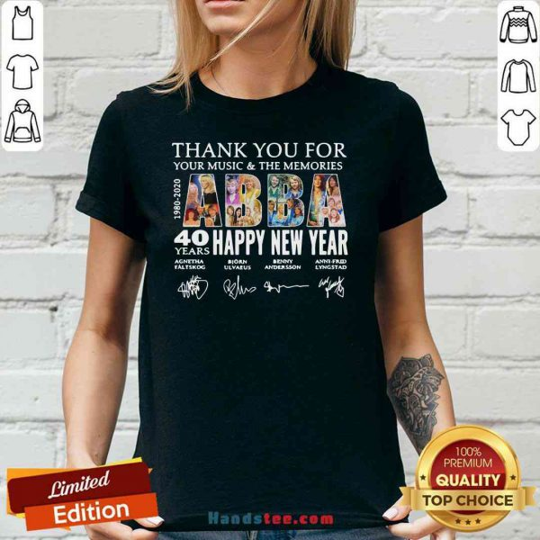 Nice Thank You For You Music And The Memories 40 Years Happy New Year V-neck- Design By Proposetees.com