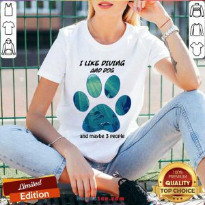 Original I Like Diving And Dog And Maybe 3 People V-neck- Design By Handstee.com