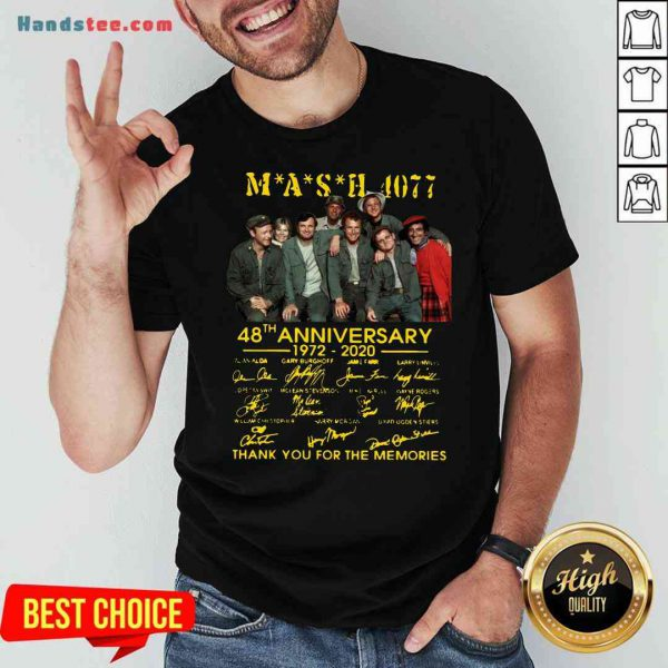 Original MASH 4077 48th Anniversary Signatures Thank You For The Memories Shirt- Design By Proposetees.com