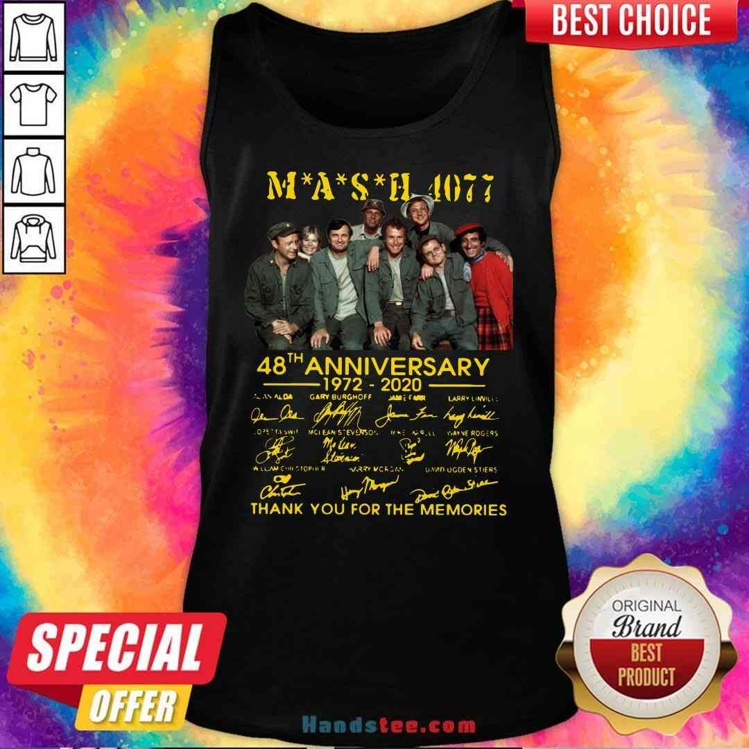 Original MASH 4077 48th Anniversary Signatures Thank You For The Memories Tank-Top- Design By Handstee.com