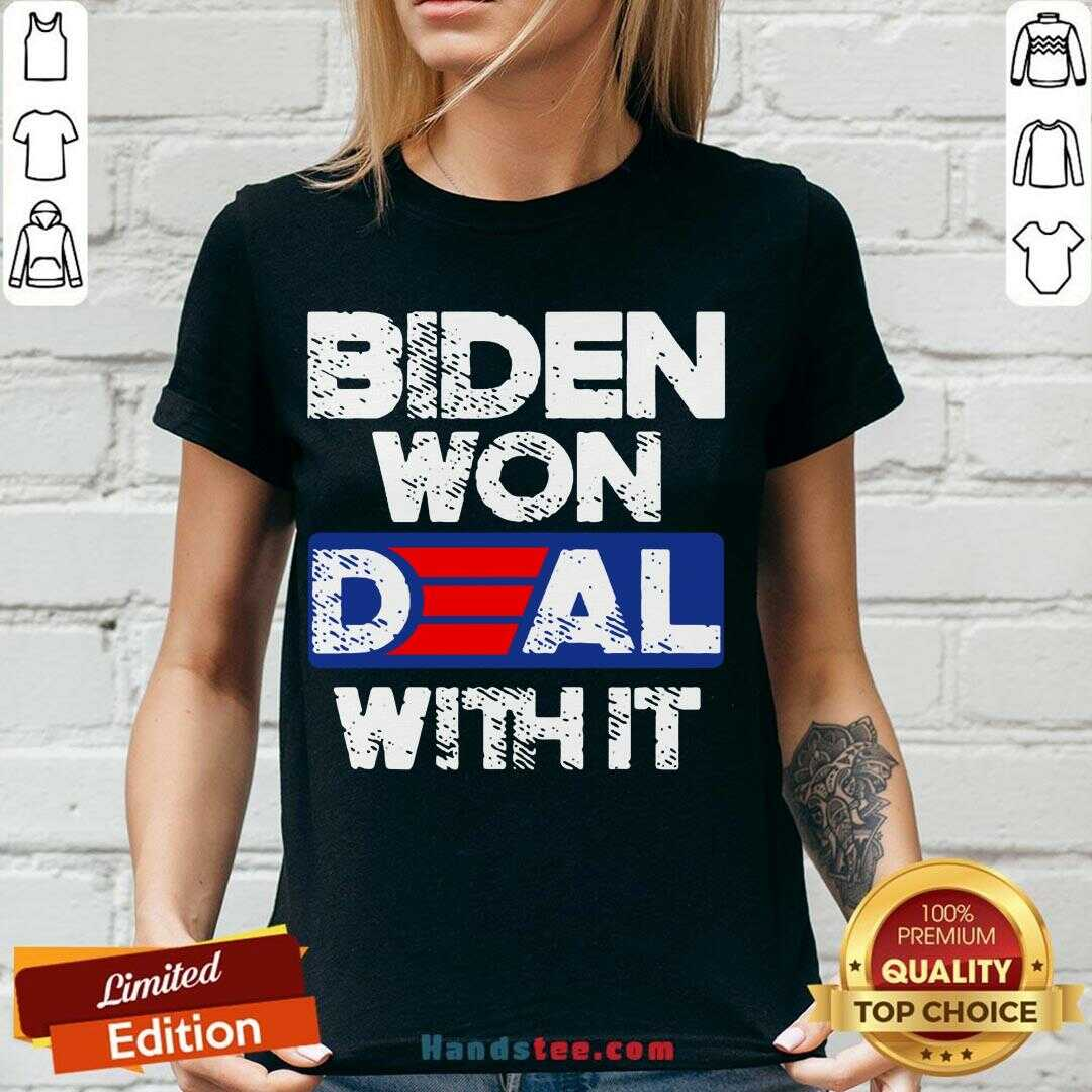 Perfect Joe Biden Won Deal With It 46 President 2020  V-neck- Design By Handstee.com