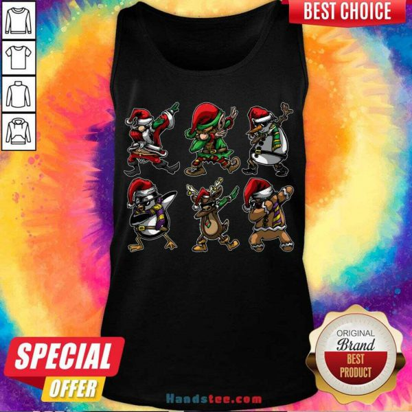 Perfect Santa Daabing with Friends Christmas Gift Tank Top- Design By Handstee.com