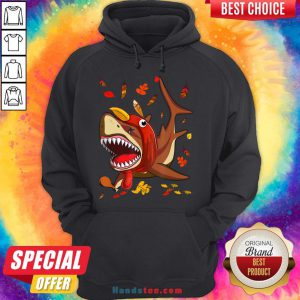Perfect Shark With Fall Thanksgiving Hoodie- Design By Handstee.com