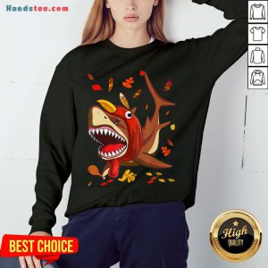 Perfect Shark With Fall Thanksgiving Sweatshirt- Design By Handstee.com