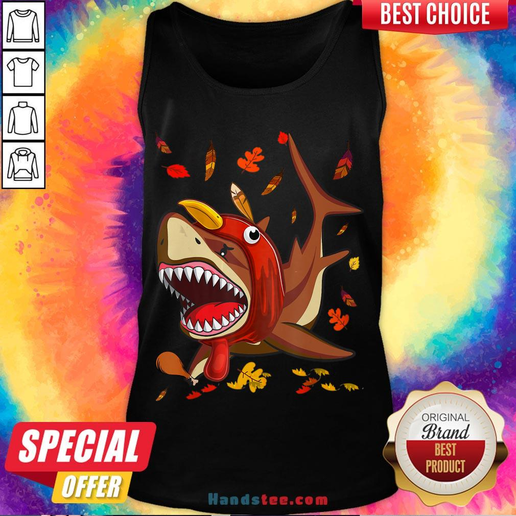 Perfect Shark With Fall Thanksgiving Tank Top- Design By Handstee.com