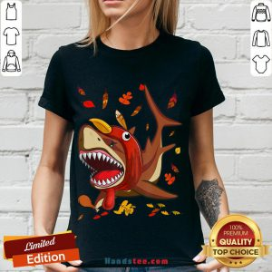 Perfect Shark With Fall Thanksgiving V-neck- Design By Handstee.com