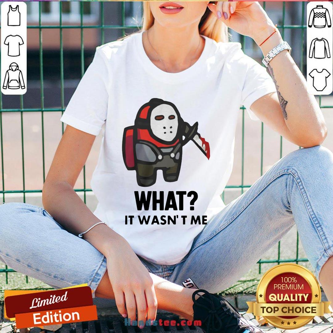 Premium Among Us Michael Myers Imposter What It Wasn't Me  V-neck- Design By Handstee.com