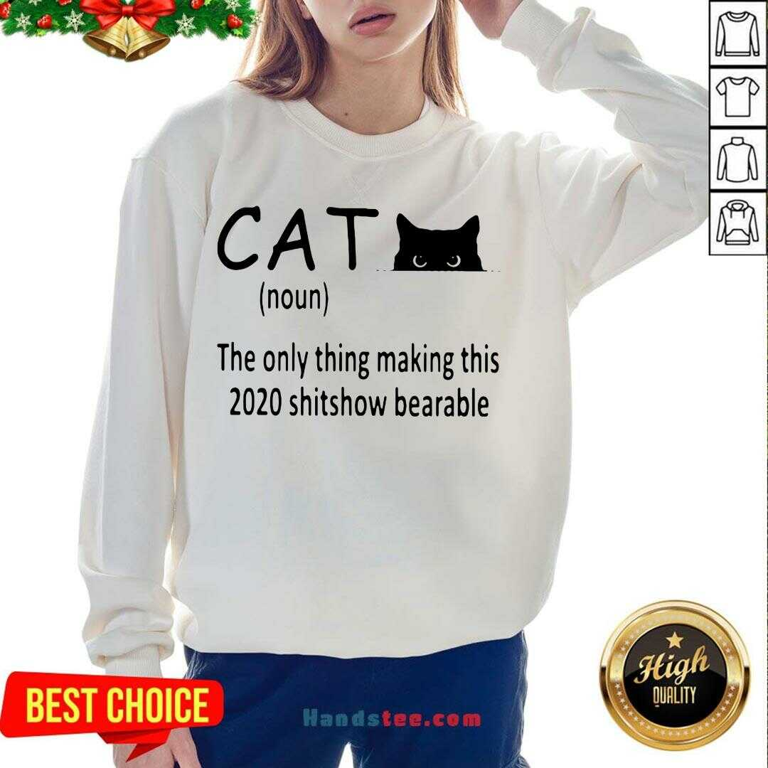 Premium Cat The Only Thing Making This 2020 Shitshow Bearable Sweatshirt- Design By Handstee.com