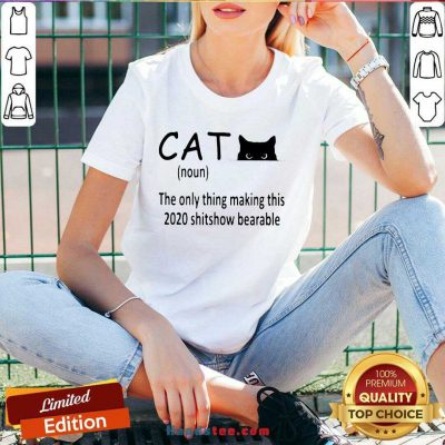 Premium Cat The Only Thing Making This 2020 Shitshow Bearable V-neck- Design By Handstee.com
