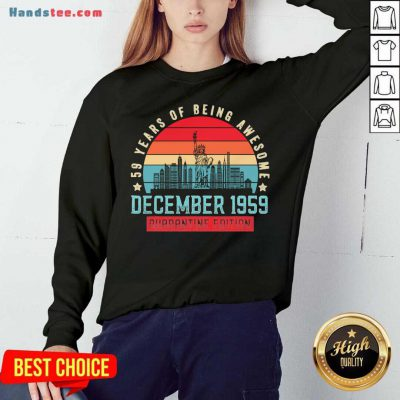 December 1959 61 Year Of Being Awesome Quarantine Edition Vintage Sweatshirt- Design By Handstee.com