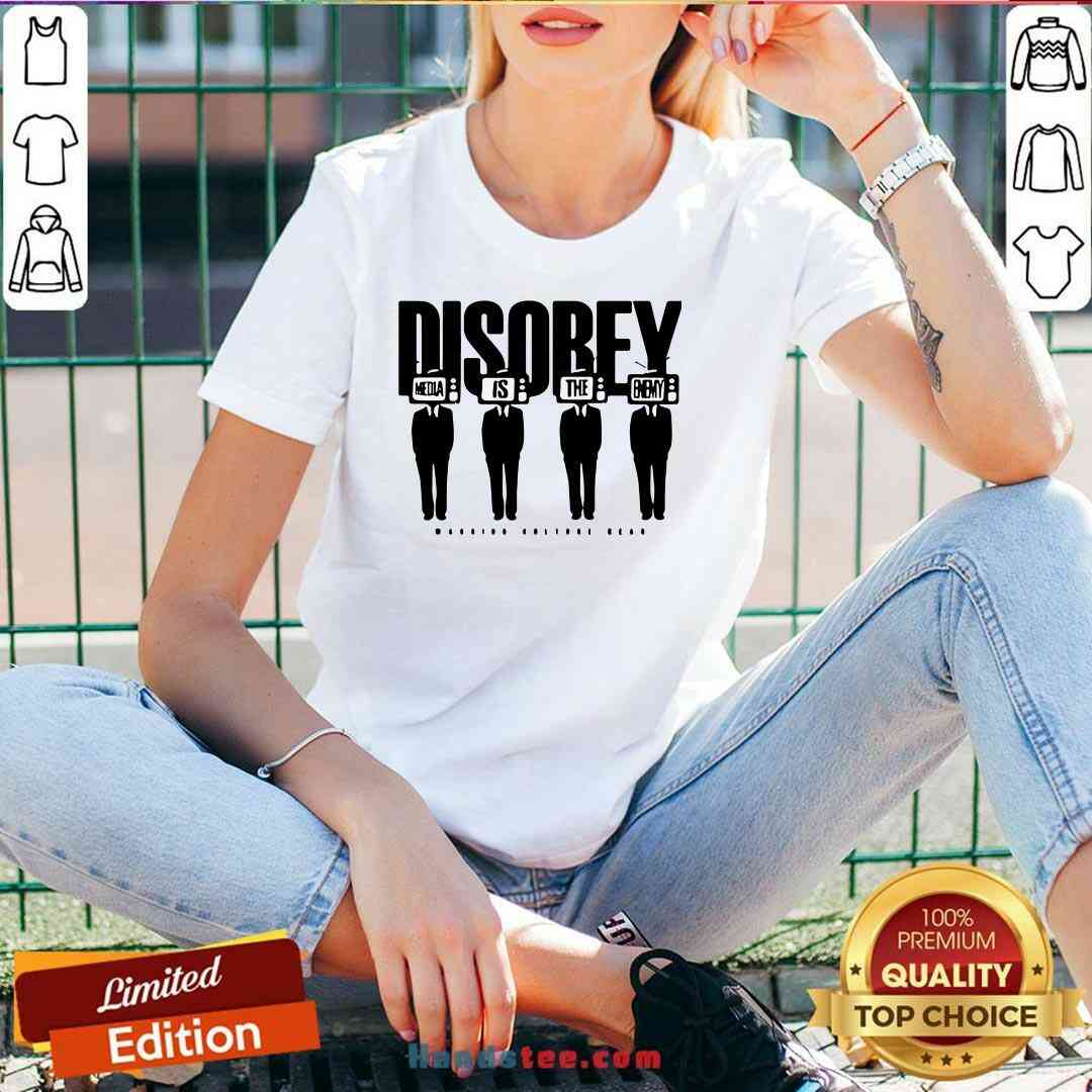 Premium Disobey Media Is The Enemy V-neck- Design By Handstee.com