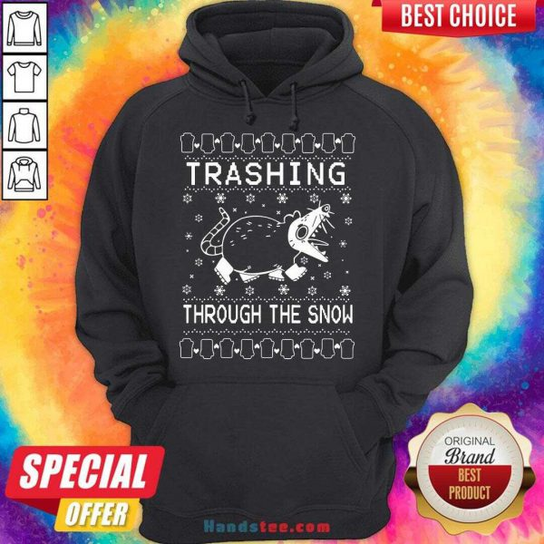 Premium Trashing Mouse Through The Snow Ugly Christmas Hoodie- Design By Handstee.com b