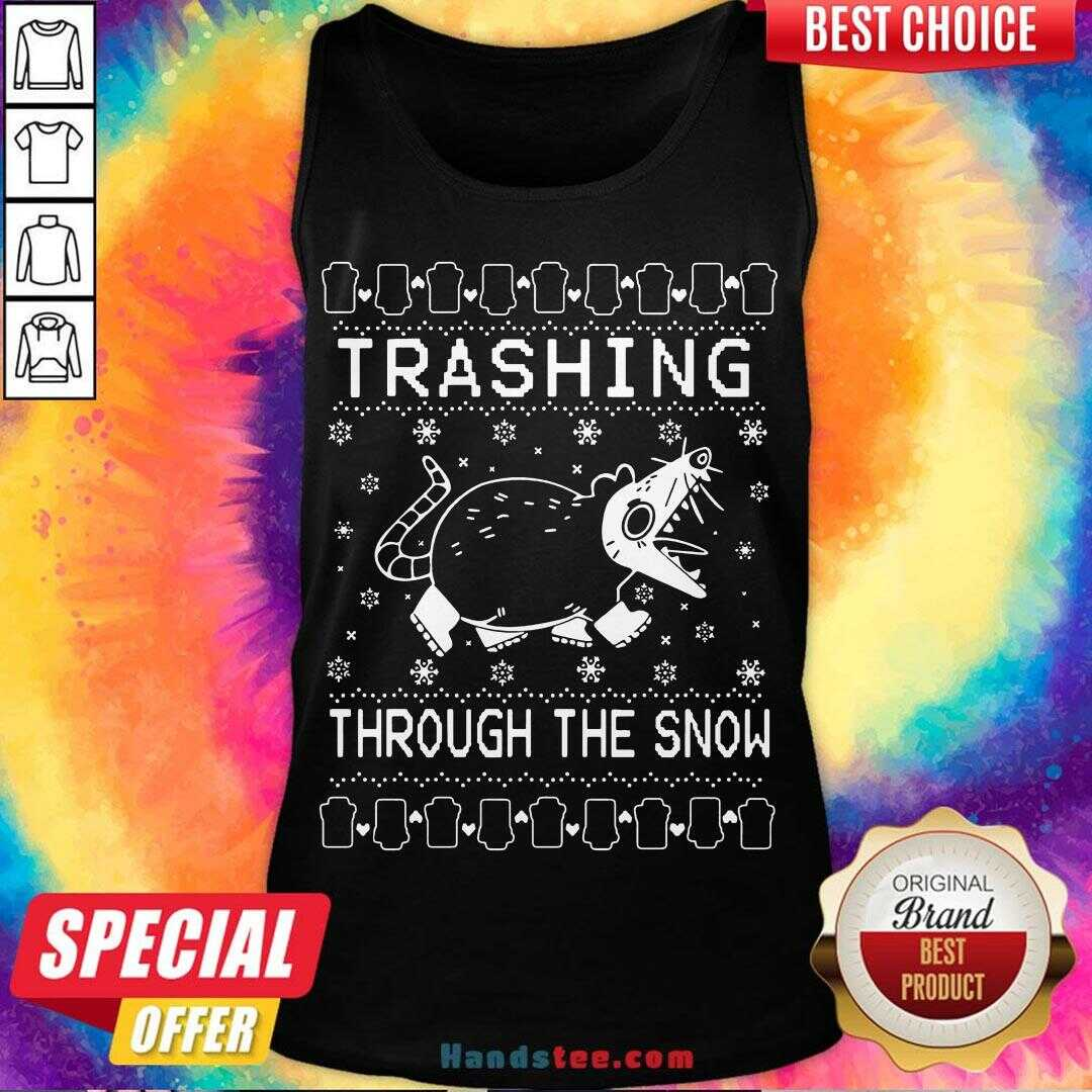 Premium Trashing Mouse Through The Snow Ugly Christmas Tank Top- Design By Handstee.com