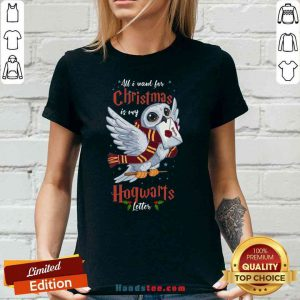 Pretty All I Want For Christmas Is My Hogwarts Letter V-neck- Design By Proposetees.com