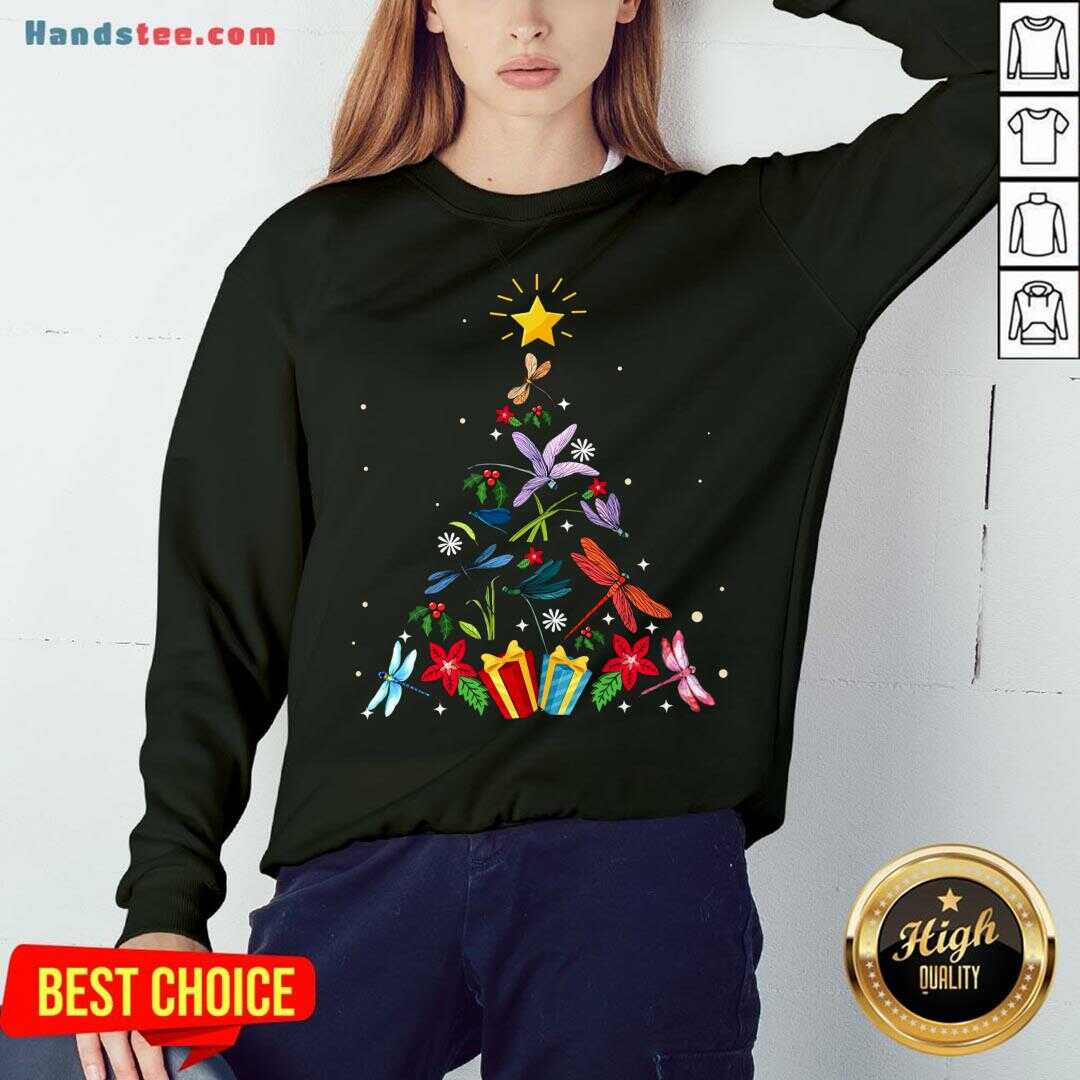 Pretty Dragonfly Christmas Tree Xmas Lover Gifts Sweatshirt- Design By Handstee.com