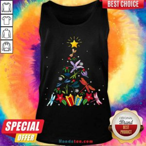 Pretty Dragonfly Christmas Tree Xmas Lover Gifts Tank Top- Design By Handstee.com