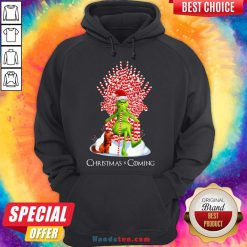 Pretty Grinch Christmas Is Coming Candy Cane Throne Sweat Hoodie- Design By Handstee.com