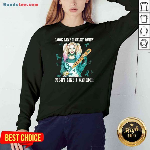 Pretty Look Like Harley Quinn Fight Like A Warrior Breast Cancer Sweatshirt- Design By Proposetees.com