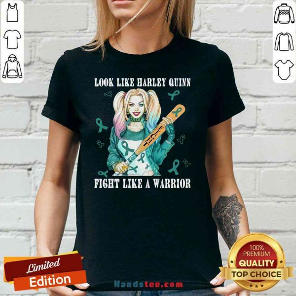 Pretty Look Like Harley Quinn Fight Like A Warrior Breast Cancer V-neck- Design By Proposetees.com