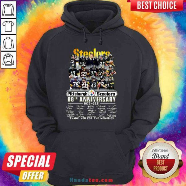 Pretty Pittsburgh Steelers 88th Anniversary Signatures Thank You For The Memories Hoodie- Design By Proposetees.com