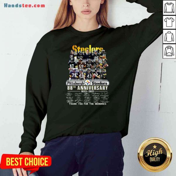 Pretty Pittsburgh Steelers 88th Anniversary Signatures Thank You For The Memories Sweatshirt- Design By Proposetees.com