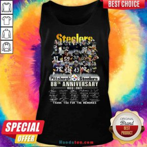 Pretty Pittsburgh Steelers 88th Anniversary Signatures Thank You For The Memories Tank-Top- Design By Proposetees.com