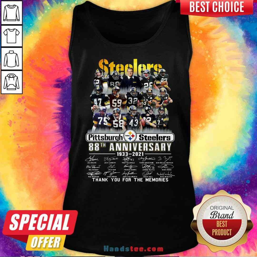 Pretty Pittsburgh Steelers 88th Anniversary Signatures Thank You For The Memories Tank-Top- Design By Handstee.com