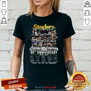 Pretty Pittsburgh Steelers 88th Anniversary Signatures Thank You For The Memories V-neck- Design By Proposetees.com