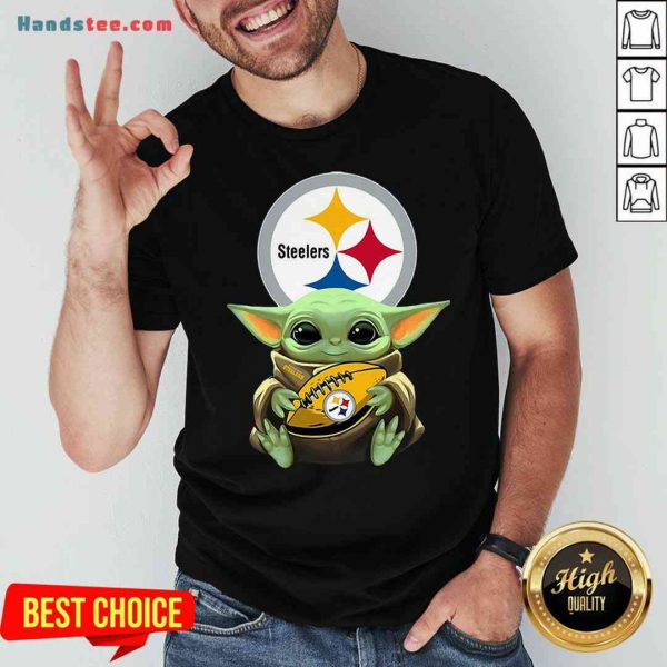 Pretty Star Wars Baby Yoda Hug Pittsburgh Steelers Shirt- Design By Proposetees.com