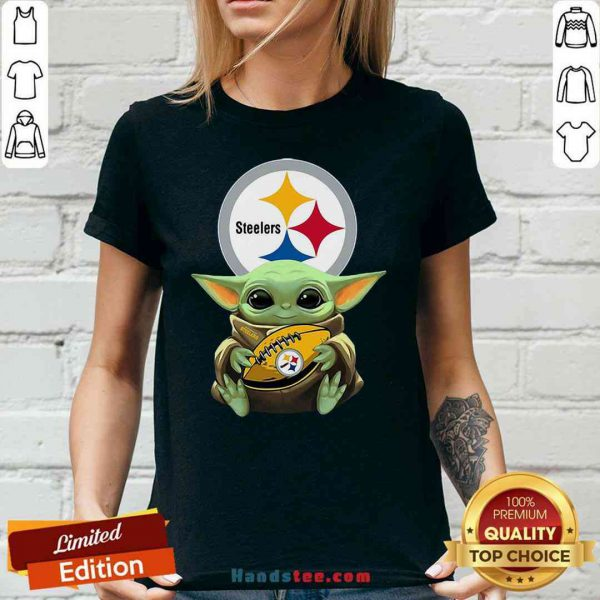 Pretty Star Wars Baby Yoda Hug Pittsburgh Steelers V-neck- Design By Proposetees.com