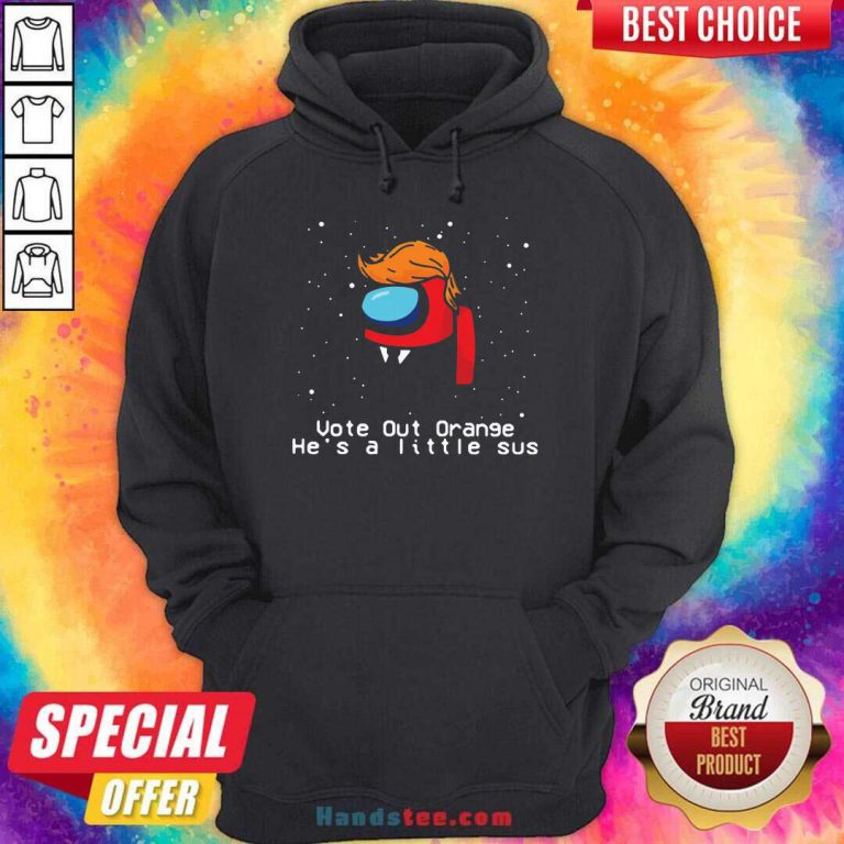 Among Us Trump Vote Out Orange He's A Little Sus Christmas Hoodie- Design By Handstee.com