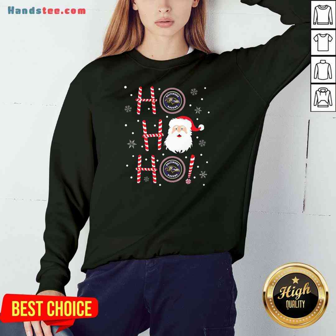 Top Santa Claus Ho Ho Ho Baltimore Ravens Christmas Sweatshirt- Design By Handstee.com