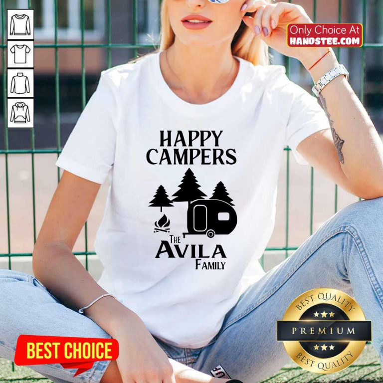 Awesome Happy Campers The Avila Family V-neck - Design by handstee.com