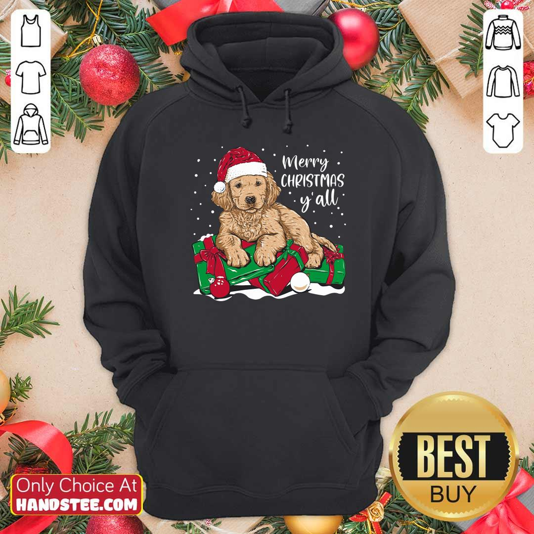Awesome Merry Christmas Y'all Puppy Dog Hoodie - Design by handstee.com
