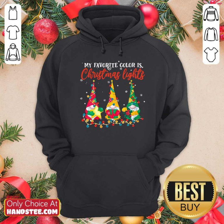 Awesome My Favorite Color Is Christmas Light Gnomes Merry Christmas Hoodie - Design by handstee.com