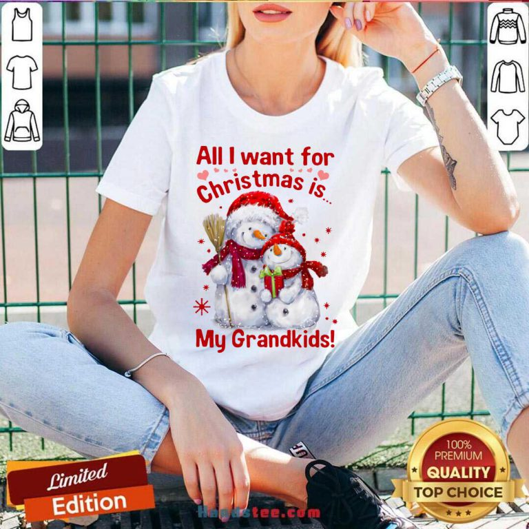 Snowman All I Want For Christmas Is My Grandkids V-neck- Design By Handstee.com
