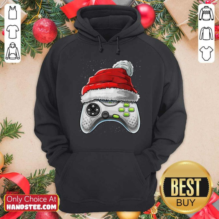 Awesome Video Game Controller Santa Hat Christmas Hoodie - Design by handstee.com