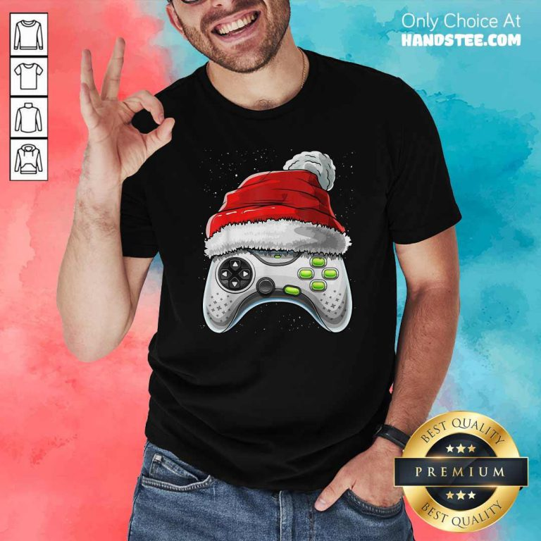 Awesome Video Game Controller Santa Hat Christmas Shirt - Design by handstee.com