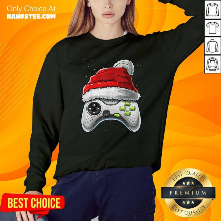 Awesome Video Game Controller Santa Hat Christmas Sweatshirt - Design by handstee.com
