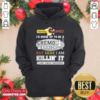 Dream Grow Up To Be A Chemo Warrior But Here I Am Killin It Lung Cancer Awareness Hoodie - Design by handstee.com