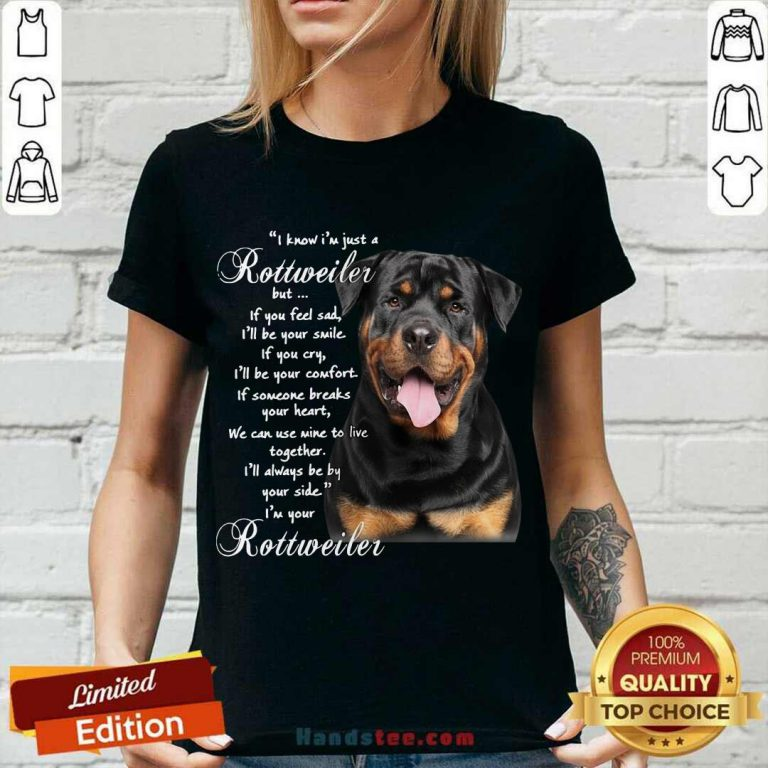 I Know I'm Just A Rottweiler But If You Feel Sad I'll Be Your Smile If You Cry V-neck- Design By Handstee.com