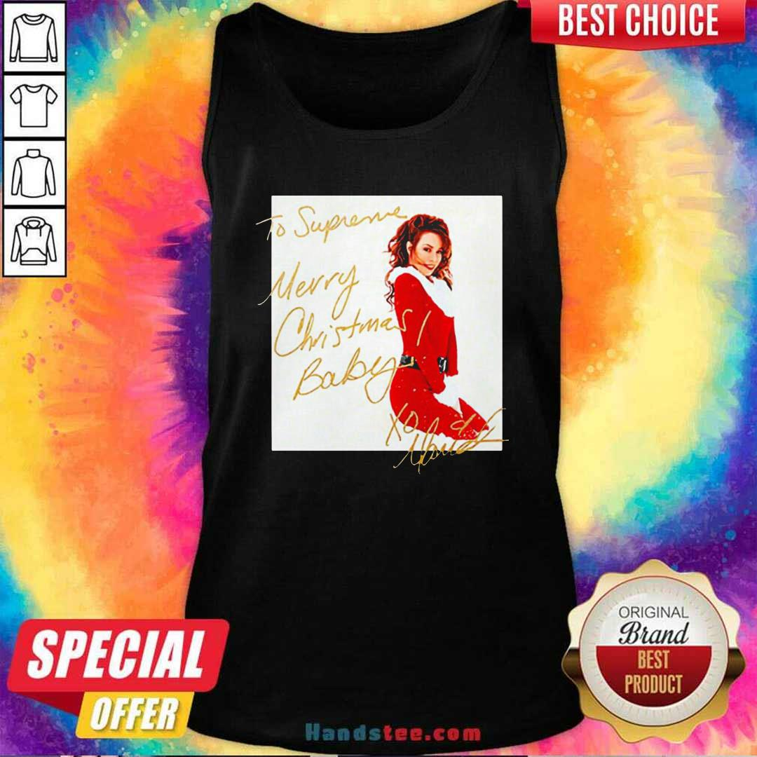 Funny Mariah Carey To Supreme Merry Christmas Baby Tank Top - Design by handstee.com