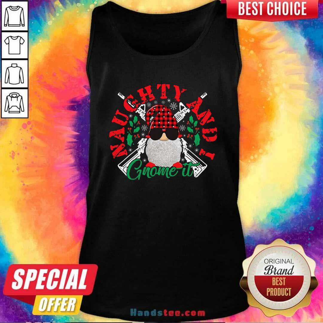 Funny Naughty And I Gnome It Merry Christmas Tank Top - Design by handstee.com