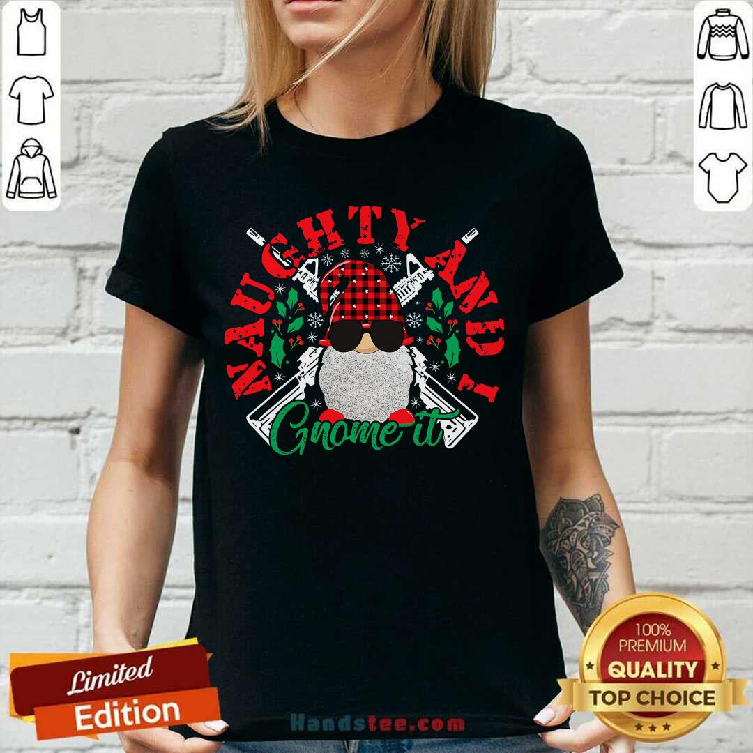 Funny Naughty And I Gnome It Merry Christmas V-neck - Design by handstee.com