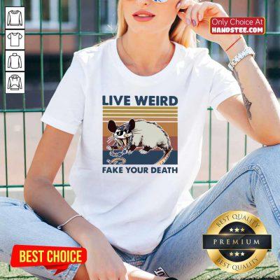 Funny Opossum Live Weird Fake Your Death V-neck - Design by handstee.com