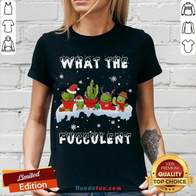 What The Fucculent Merry Christmas V-neck- Design By Handstee.com